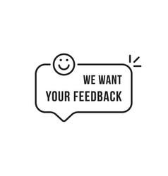 Linear feedback speech bubble with smile vector