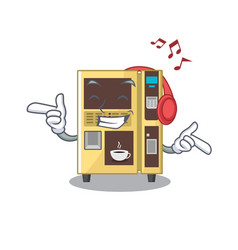 Listening music coffee vending machine in a vector
