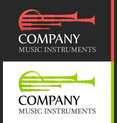Logo with bagpipes in flat red and green colors vector