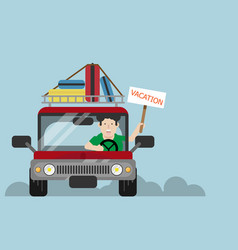 man driving car to vacation vector image