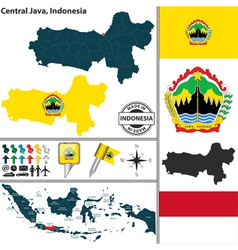 Map of Central Java vector image
