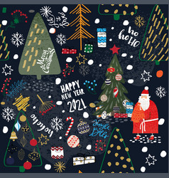 merry christmas and happy new year 2021 seamless vector image