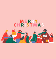 merry christmas card diverse holiday people crowd vector image