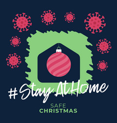 merry home safe christmas 2020 coronavirus vector image