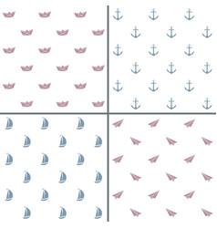 Minimalist seamless patterns set vector