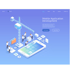 mobile application development isometric vector image