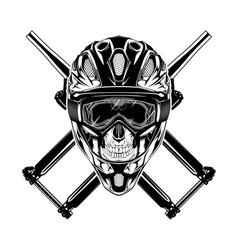 monochrome skull with helmet mask vector image