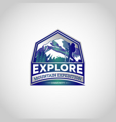 mountain explore hiking logo symbol badge vector image