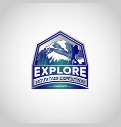 mountain explore hiking logo symbol badge vector image