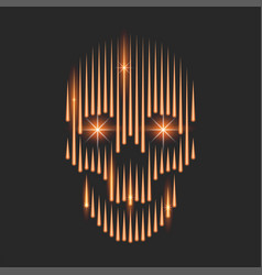 Neon burning human skull with sparks in eyes vector