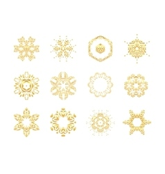 Oriental gold pattern Golden snowflakes set vector image