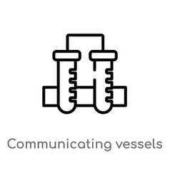 Outline communicating vessels icon isolated black vector