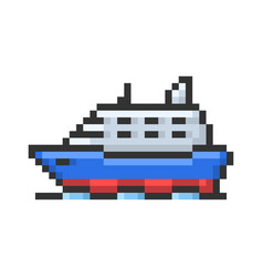 Outlined pixel icon ship fully editable vector