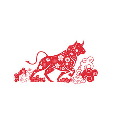 Ox bull buffalo icon chinese happy new year poster vector