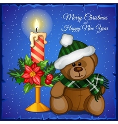 Plush Christmas bear with candle vector image