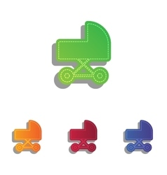 Pram sign Colorfull applique icons vector image