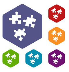 Puzzle icons set vector