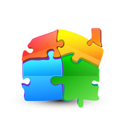 puzzle pieces forming a house symbol vector image