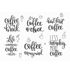 Quote coffee cup typography set vector