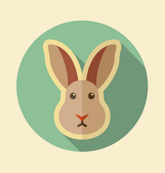 rabbit flat icon animal head vector image