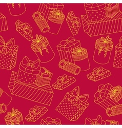 red seamless pattern with boxes presents vector image