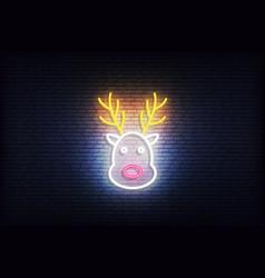 Reindeer neon icon glowing christmas santa deer vector