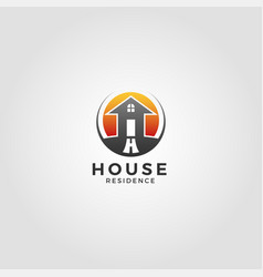 residence house logo template with circle concept vector image