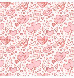 romance seamless pattern love wedding flat line vector image