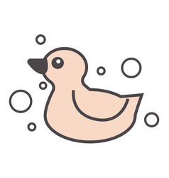 rubber duck for bathing duckling with bubbles vector image