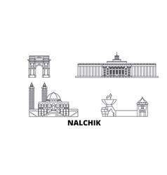 Russia nalchik line travel skyline set russia vector