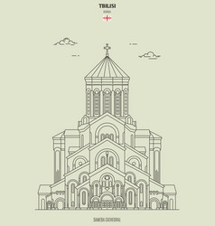 sameba cathedral in tbilisi georgia vector image