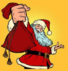 santa claus character gift bag christmas and new vector image