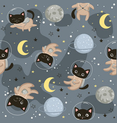 seamless pattern with cute cats astronauts in vector image
