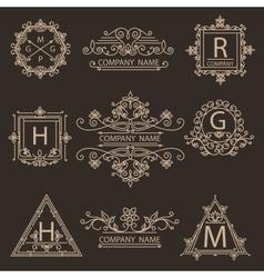 Set monogram ornamental logos emblem vector