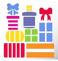 Set of gift boxes and bows vector