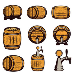 set of hand drawn wood barrels isolated on white vector image