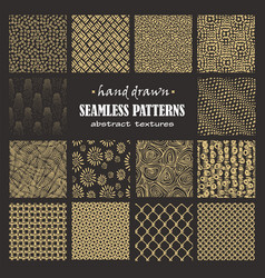 set seamless hand drawn marker and ink patterns vector image