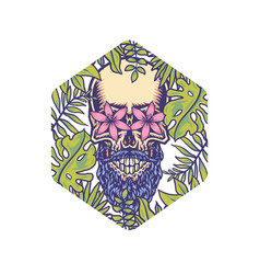 skull with tropical border vector image