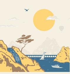 stencil style marine landscape vector image