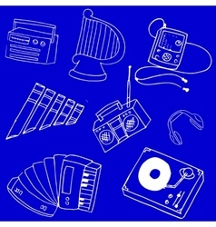 Stock collection music on blue backgrounds vector image