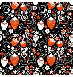 Strawberry fields in Russian Folk Style vector image