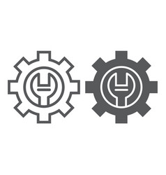 technical support line and glyph icon maintenance vector image