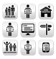 Unemployment job searches buttons set vector