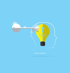 unlock lightbulb master key with head outline vector image