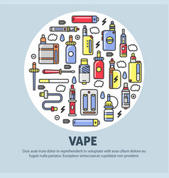 vape shop advertisement with modern devices for vector image
