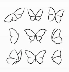 variety butterfly silhouette set vector image