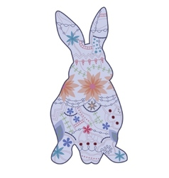 Vintage blue rabbit vector