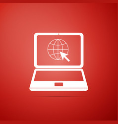 website on laptop screen icon on red background vector image