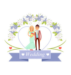 Wedding bride and groom poster vector