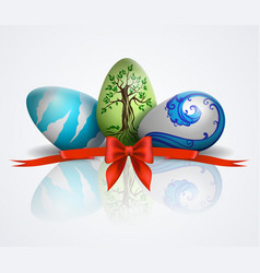 with painted easter eggs vector image